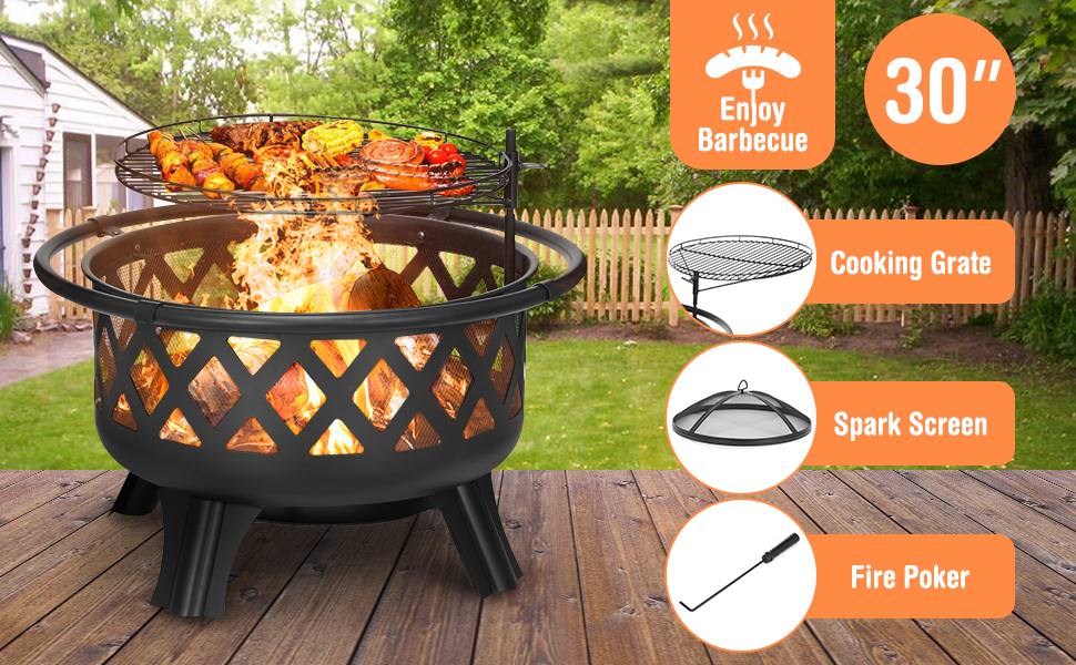 Amazon Com Kingso 2 In 1 Outdoor Fire Pit With Cooking Grate 30 Heavy Duty Fire Pits Outdoor Wood Burning Steel Bbq Grill Firepit Bowl With Spark Screen Cover Log Grate Fire Poker For