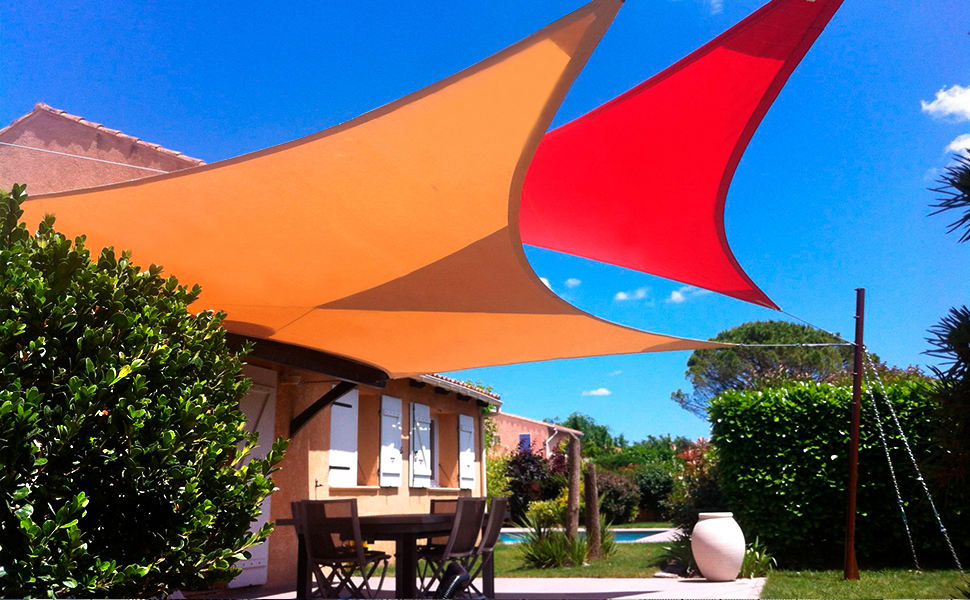 triangle shade sail-heavy duty-hot summer cool solution-uv block-skin protect-patio shading cover