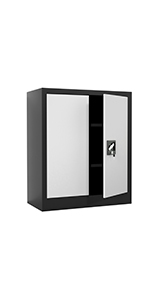iJINGUR Metal Storage Cabinet, 37.4'' H, Black amp; Gray