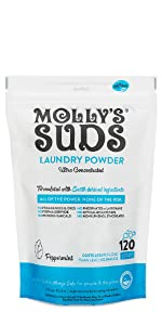 molly's suds, original, laundry powder, unscented, peppermint, ultra concentrated, naturally derived