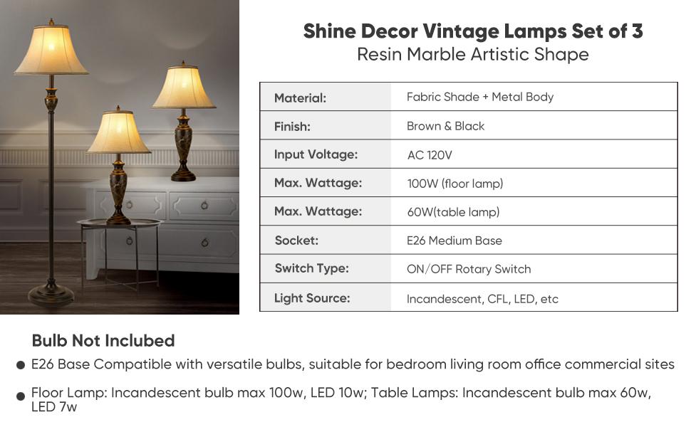 shine decor lamp sets of 3