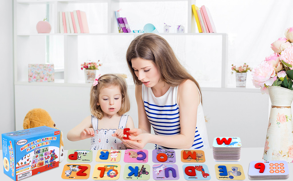 ABC Wooden Letters Jigsaw Numbers Alphabets Puzzle Blocks Toys Learning Letters and Numbers