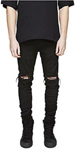 ripped skinny jeans for men black slim fit distressed torn tapered designer stretch destroyed