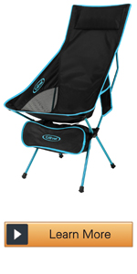 Camping Chair Portable Lightweight Folding Camp Chairs with Headrest and Pocket High Back High Legs