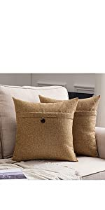 farmhouse linen burlap pillows brown taupe with vintage buttons fall decor