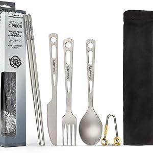 F996 EDC Pure Titanium Folding Spoon Outdoor Camping Cooking Picnic Tableware