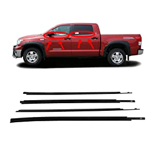 Newsmarts Automotive Weather Stripping Car Rubber Window Seal Molding Trim Fits for Toyota Tundra CrewMax 2007-2019 Window Seal Outside Parts