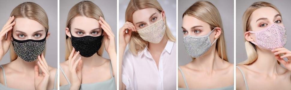 natalie mills, rhinestone face mask, crystal face mask