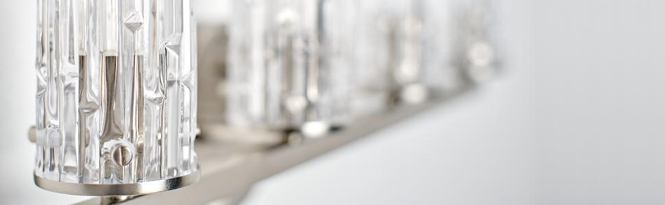 Unique Original Glass Shades 4 Light Bright Tall Chic Modern Farmhouse Style Bathroom Vanity Light