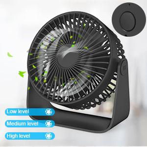 Jovego Mini Ventilateur, Ventilateur de Poche Table USB Ventilateurs, 3 Vitesse Réglable silencieux Rotation à 360 °Fan, Pour Maison, Table, Bureau,