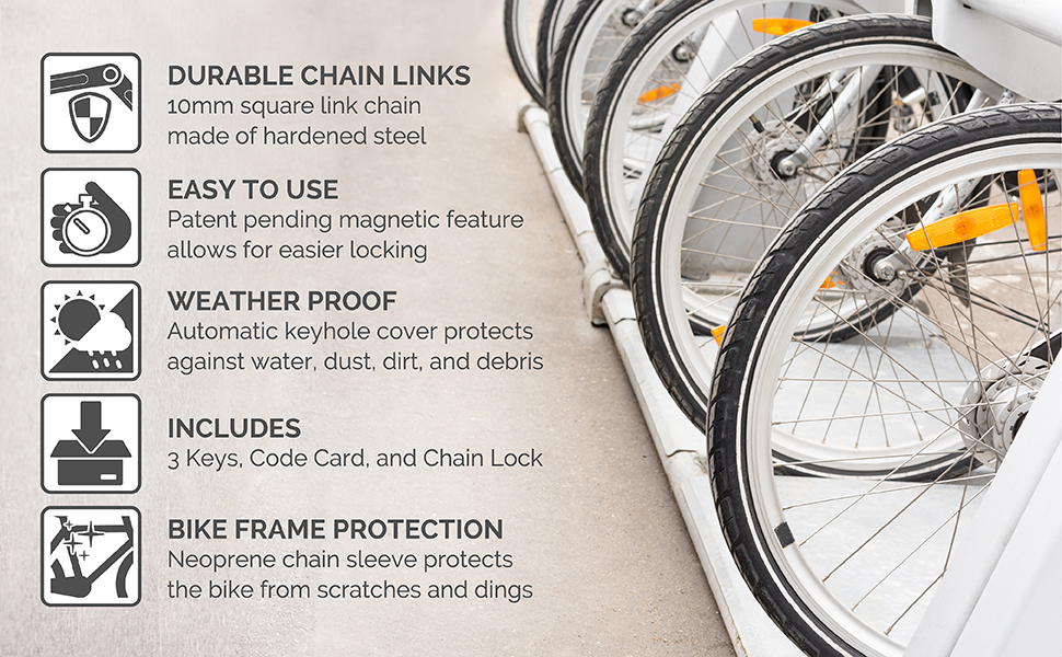 seatylock viking bicycle chain durable chain link weather resistant