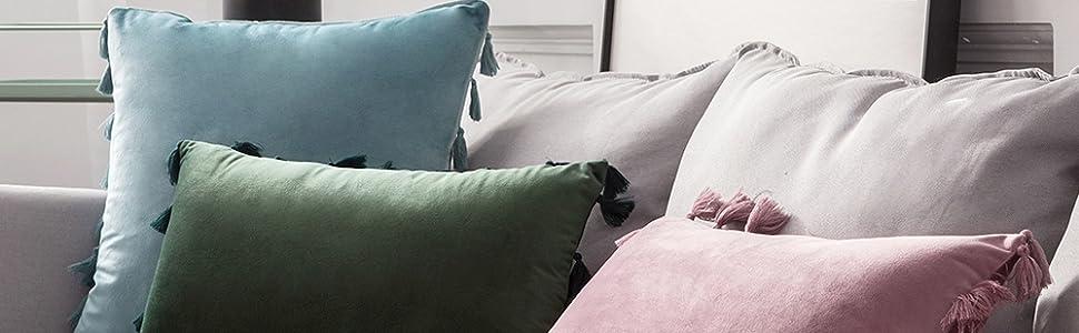 slate blue grey gray light sky azure velvet pillows