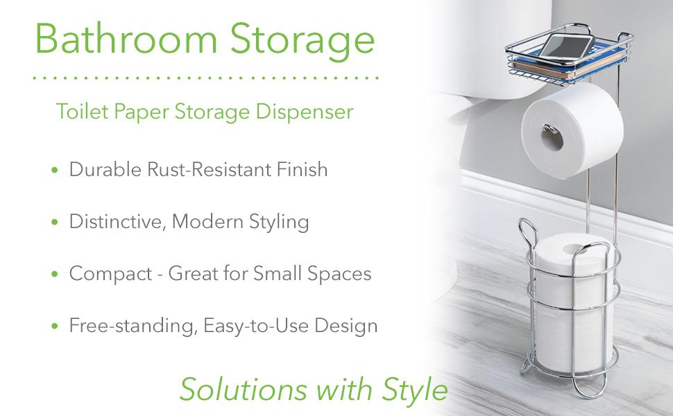 3 Rolls mDesign Metal Toilet Paper Holder Stand Chrome Dispenser with Shelf