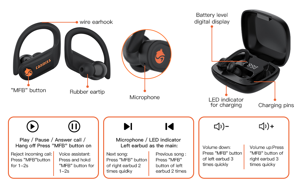 wireless earbuds bluetooth 5.0