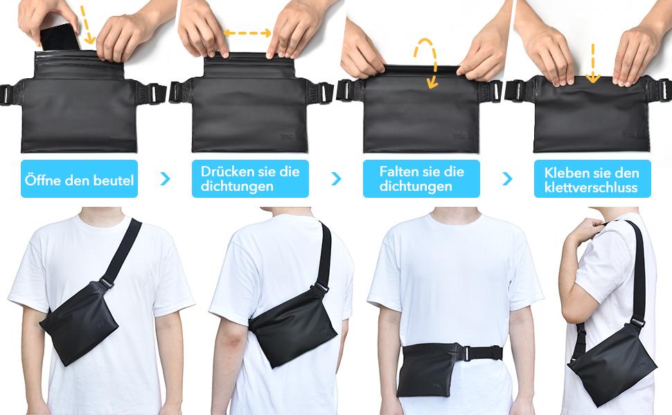 YOSH wasserdichte Tasche wasserfeste Bauchtasche mit verstellbarem Hüftgurt, wasserdichte Handyhülle