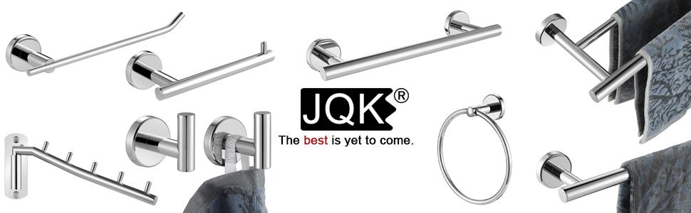 jqk towel bar double polished chrome hook holder toilet paper holder bathroom hardware set