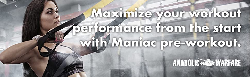 Maximize your workout performance from the start with maniac pre-workout anabolic warfare