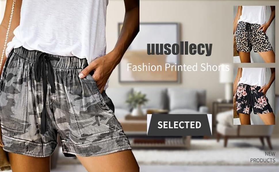 Womens Casual Drawstring Elastic Waist Comfy Summer Pure Color Shorts