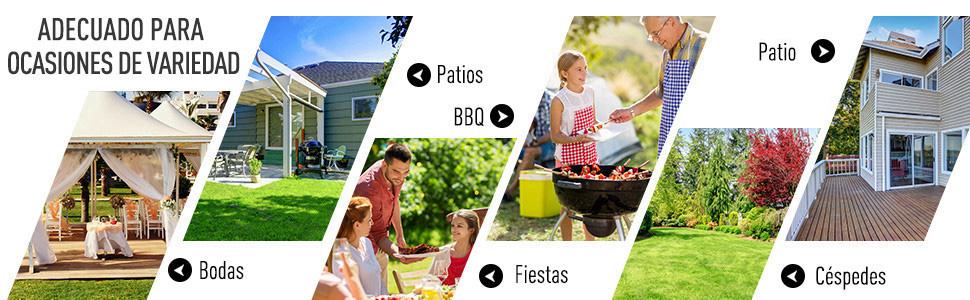 Outsunny Carpa Cenador para Jardín Gazebo Exterior para Evento ...