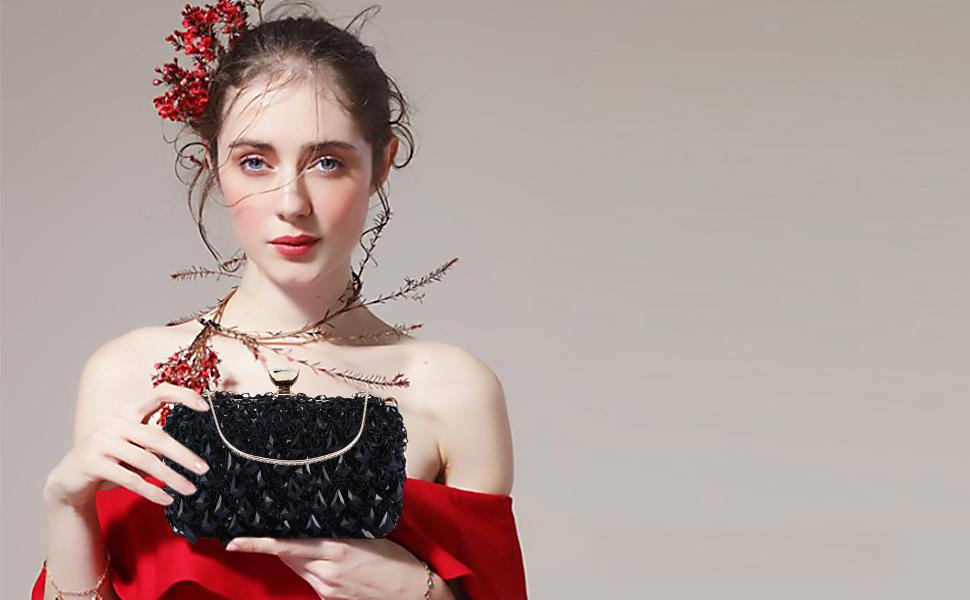 UBORSE Women Clutch Wedding Purse Rhinestone Crystal Beaded Bags Cocktail Party Bridal Prom Handbag