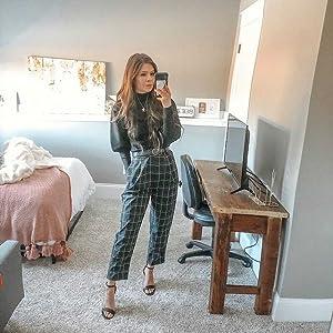 black plaid pants for work