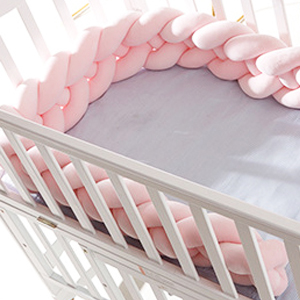 4 Strands Protect Baby Sleep Sturdy and Thick 4 Strands Baby Crib Bumper Knot HePesTer Baby Crib Bumper with Soft Material Gray, 118.1
