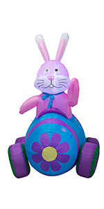6 Feet Happy Easter Bunny Driving Car Inflatable