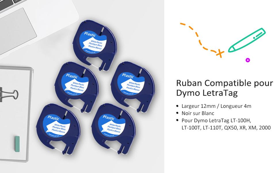 12mm x 4m LetraTag LT-100T 4-Pack LetraTAG QX50 LetraTAG XR Rubans d/étiquettes 91205 Noir sur Bleu InkJello Compatible Rubans d/étiquettes Replace pour Dymo LetraTag LT-100H