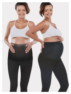 maternity leggings back and side views