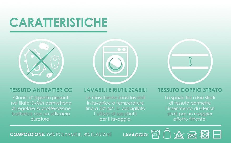 mascherine lavabili multiuso, mascherine antibatteriche, fasce riutilizzabili, fasce viso tessuto