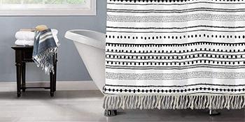bohemian shower curtain set hooks 72x78 shower curtain rings white farmhouse shower curtain