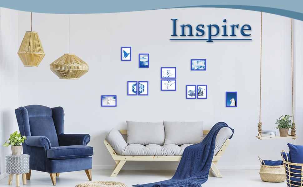 home decor magazine art modern gifts contemporary housewarming birthday Ocean Blues wedding 5 x 7 Picture Frame