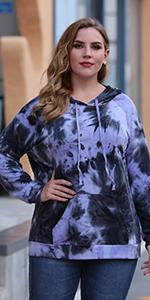 Nemidor Women Plus Size Tie Dyed Hoodies