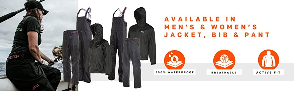 Grundens Weather Watch avaliable in men's & Women's jacket, bib, and pant features