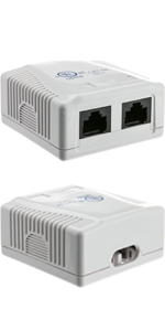 cat5e surface mount box, adhesive, rj45 female port, multiport, extender, wallmount, cat5e surface
