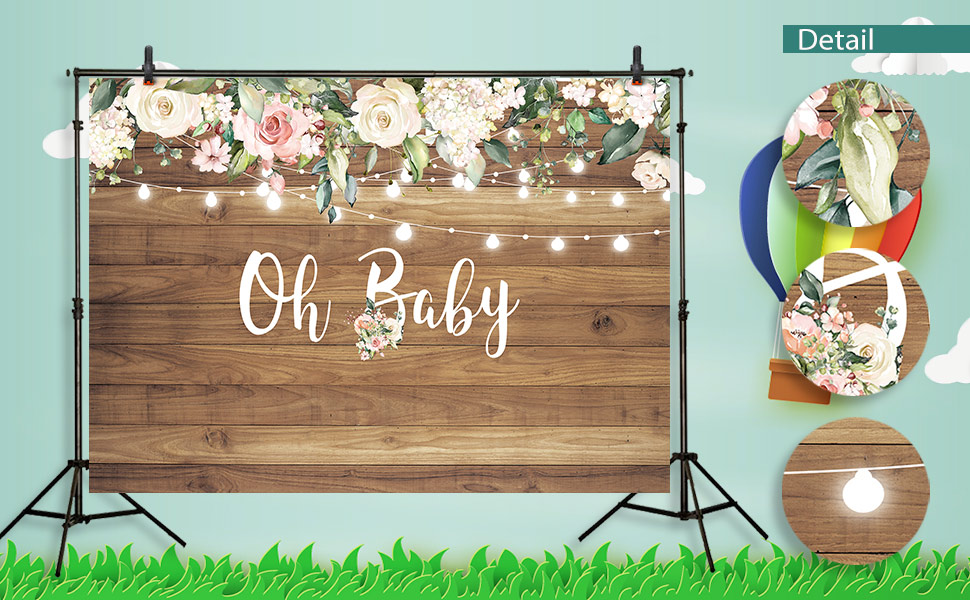 Baby Shower Backdrop/Oh Deer 5x7 Photo Background Little Bunnies Green Grass Lighting Wild Wood Trees Photography Backdrop Birthday Custom Kids Party Wall Decorations