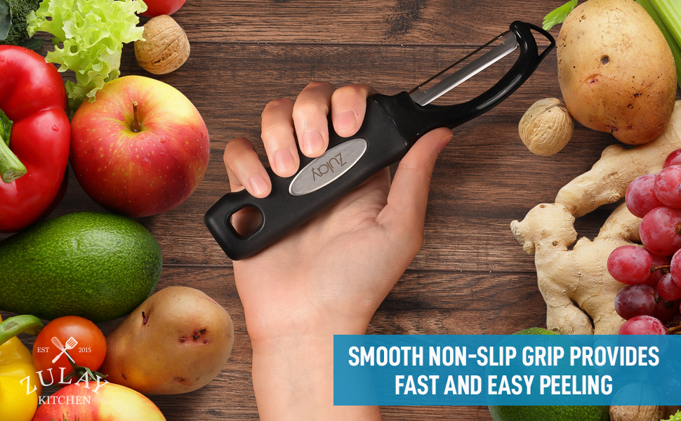 Comfortable Ergonomic Grip with Ideal Blade for Vegetables Potatoes and Carrots by Zulay Kitchen Premium Swivel Vegetable Peeler
