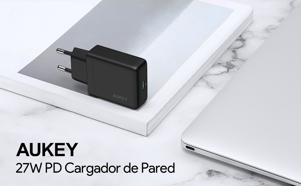 AUKEY USB C Cargador de Red, 27W con Power Delivery 3.0 Cargador de Pared USB Compatible con iPhone XS/XS MAX/XR, Google Pixel 2/2 XL, Macbook/Air, ...