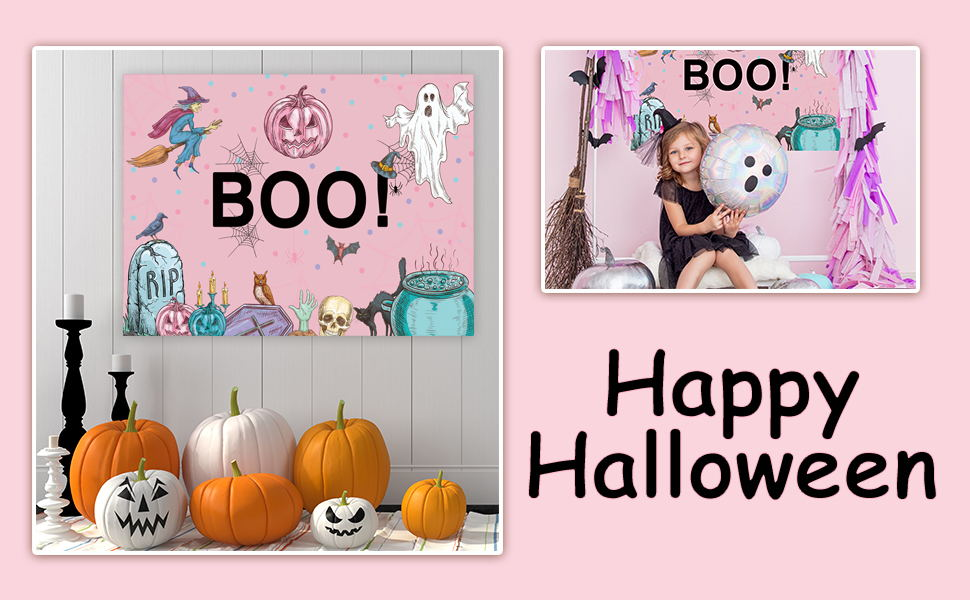 LB Halloween Party Backdrops for Photography Balloon Flag Ribbon Bat Spider Web Decor Funny Halloween Eve Party Banner Photo Background for Kids Baby Family 7x5ft Customized Photo Booth Props