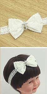 white baby bow headband baptism Christening white lace headband