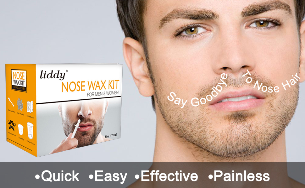 Amazon Com Nose Wax Kit For Men Women Nose Hair Removal Waxing Kit Eyebrows Ears Lips Facial Nose Hair Remover Wax With 50g Hard Wax Beads 20 Applicators 10 Paper Cups 8
