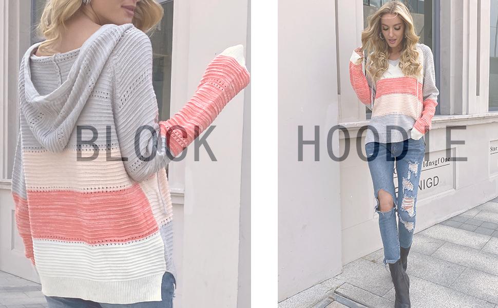 ZIYYOOHY Damen Strickpullover Farbblock V-Ausschnitt Langarm Casual Strick Kapuzenpullover Sweatshirt Pullover Outwear