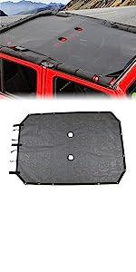 Sunshade Mesh Shade Top Cover Polyester for JK JKU 4 Door Plain Black