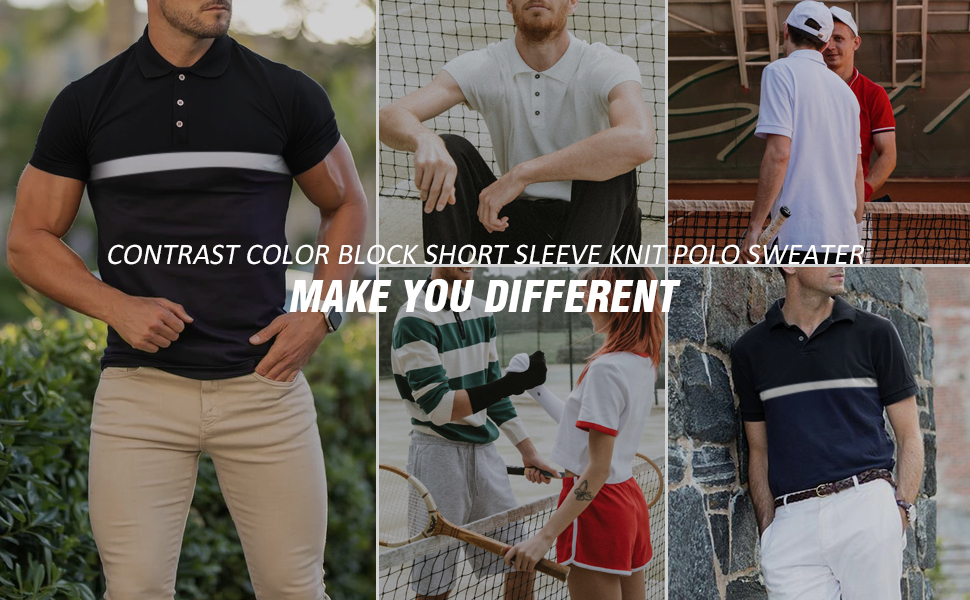 mens contrast short sleeve knit polo t shirts casual color block knitted golf shirt tops sweater men