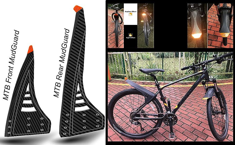 1 Set Carbon Fiber Mountain Bike Fenders Front Rear Mudguard Bicycle Mud Guards