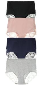 Details about  /LIQQY Women/'s 3 or 4 Pack Comfort Cotton Lace Coverage Full Rise Briefs Underwea