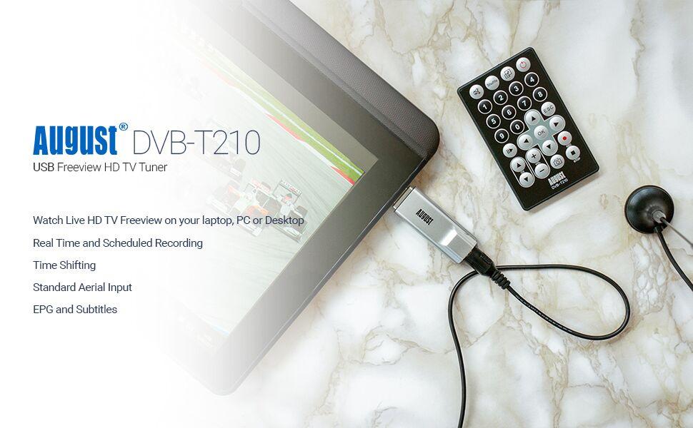 August DVB-T210 Sintonizador TDT HD Televisión Receptor USB de DVB-T2 para PC - USB Tuner HD TV Grabador de Programas PVR - Compatible con Windows ...