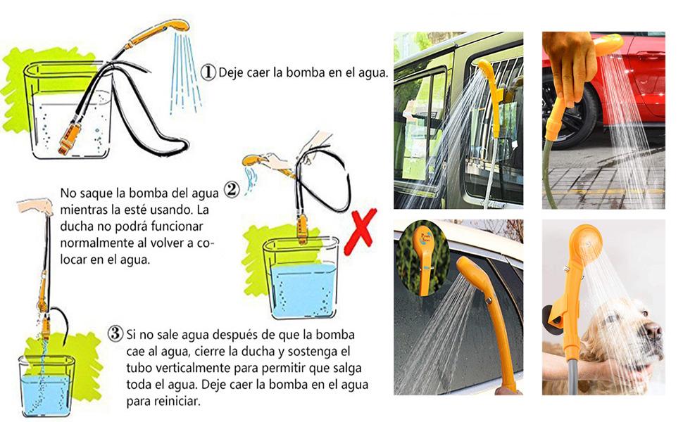 LIEBMAYA 12V Alcachofa Ducha Pistola Rociadora Portátil Auto Jardín Perro ideal para el camping, el coche o lavar al perro