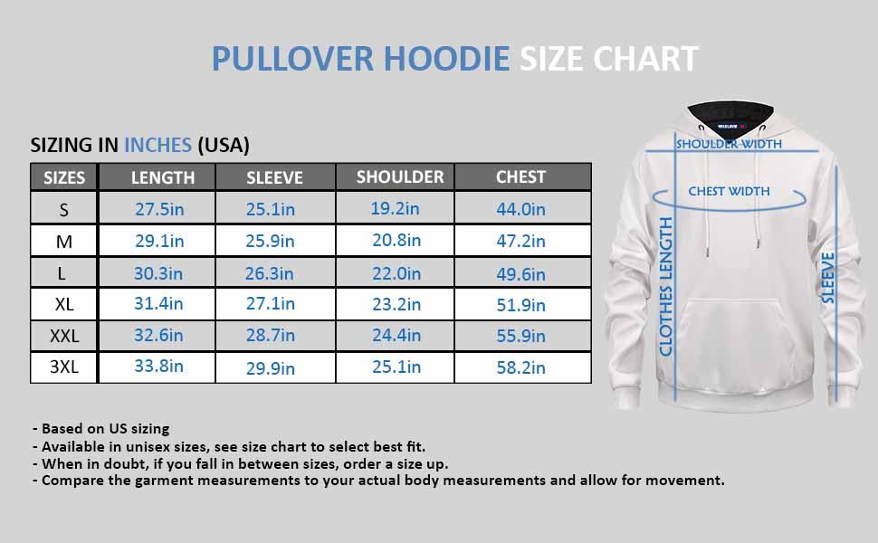 Wildlavie 3D Print hoodie Size Chart