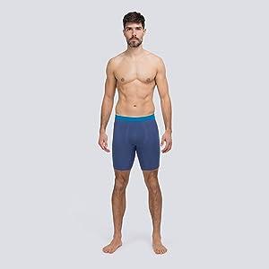 Runderwear Men's Long Boxers - Blue, model